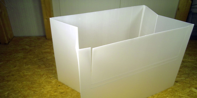 Gitterboxauskleidung weiß faltbar mehrfach verwendbar aus PP-Platten