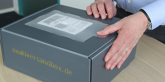 Multiversandbox Dokumententasche Verschluss ohne Klebstoff
